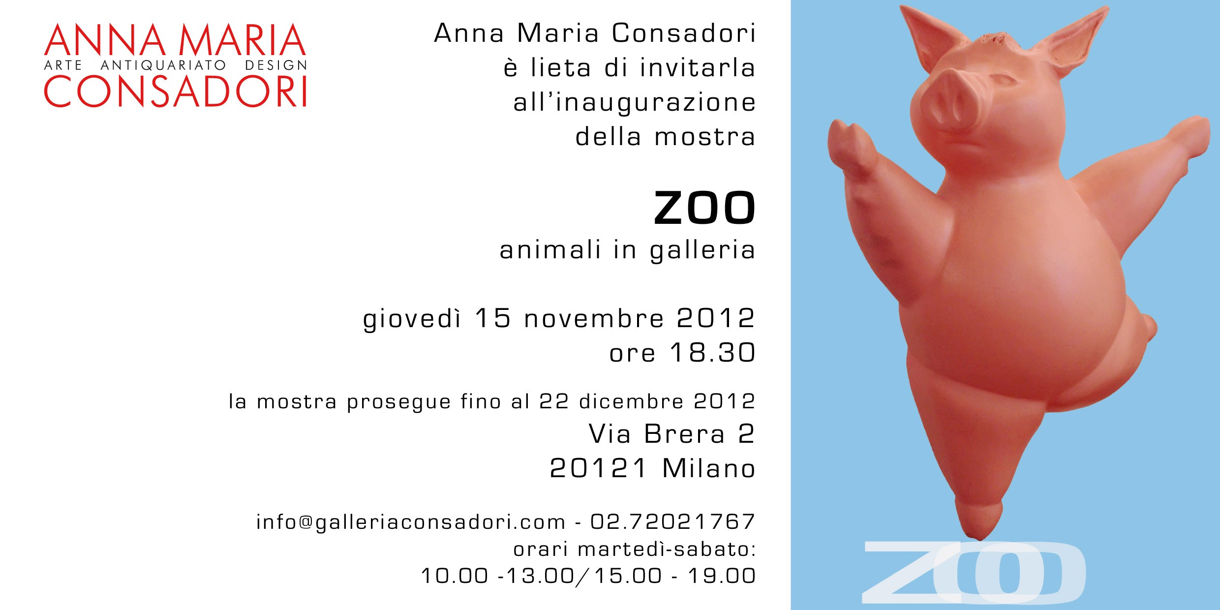 Zoo - Animali in galleria | Galleria Consadori 2012