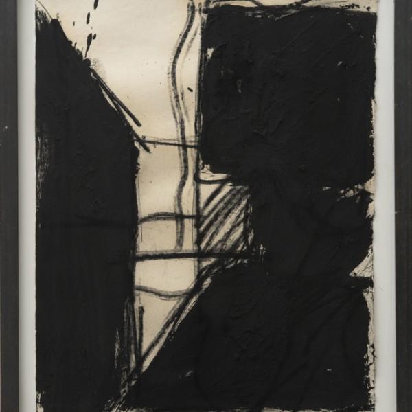 Giuseppe Spagnulo, Senza titolo, 1994, ossido di ferro e sabbia vulcanica su carta, cm 81x64 - © Tancredi Mangano