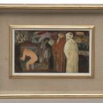Salvatore Fiume, Susanna e i vecchioni, anni '60, olio su masonite, cm 22 x 37