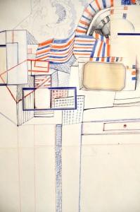 Saul Steinberg, Composizione, 1963, tecnica mista su carta, cm 71x51