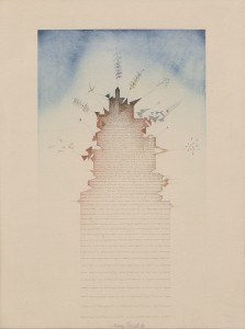 Tullio Pericoli, Torre, 1980, acquerello e china su carta, cm 37x27