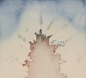 Tullio Pericoli, Torre, 1980, cm 37x27, acquerello e china su carta