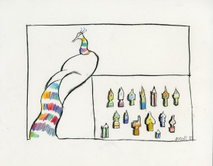 Tullio Pericoli, Bozzetto per Sala Garzanti, 1988, cm 28x35,5, matita su carta