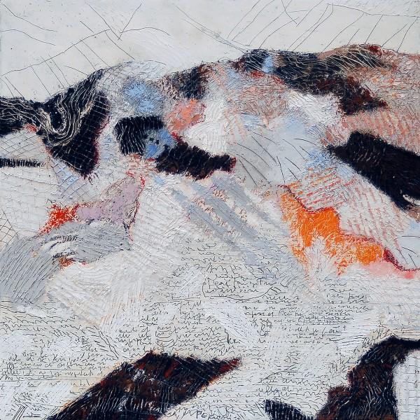 Tullio Pericoli, Scavi, 2011, cm 40x40, olio su tela