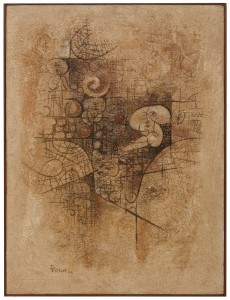 Tullio Pericoli, Senza titolo, 1965, cm 70x50, tecnica mista su tavola