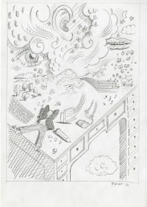 Tullio Pericoli, Luoghi ventosi, 1994, cm 29,5x21, matita su carta