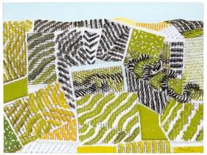Tullio Pericoli, Senza titolo, 2017, olio su tela e collage, cm 30x40